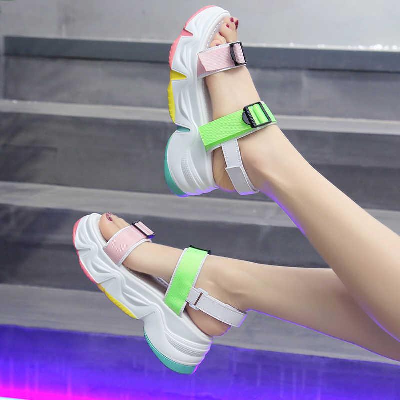 MBR FORCE/женские пляжные сандалии, модные удобные повседневные сандалии на танкетке с открытым носком на толстой подошве для студентов, 2020