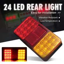 2x 12V 24 LED Truck Tail Light Waterproof Rear Lights Trun Signal Light Brake Stop Indicator Lamp Taillight for Trailer Car Bus