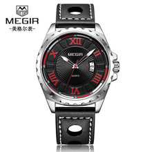 MEGIR Fashion Sport Complete Calendar Watch Men Luxury Brand Men Quartz Watches  Clock Leather Band Army Military Wrist Watch цена в Москве и Питере