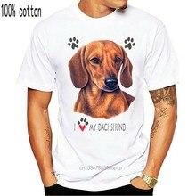 Camiseta unissex dachshund-eu amo meu cão dachshund t-shirts amor filhote de cachorro dos desenhos animados t camisa masculina unissex nova moda tshir looset