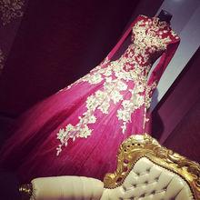 Muslim Gold Lace Applique Red Wedding Dress High Neck Long Sleeve Dresses Custom
