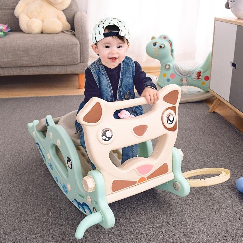 Bébé brillant 4 en 1 glisse cheval à bascule pour enfants bébé jouets multifonction cadeau d'anniversaire penser plastique Non toxique sans odeur - 2
