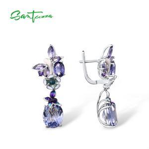 Image 3 - Женские серебряные серьги SANTUZZA, фиолетовые серьги подвески с бабочками из стерлингового серебра 925 пробы с кубическим цирконием, модные ювелирные изделия
