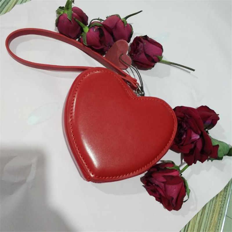Samll Portemonnee Voor Vrouwen Rood Hart Organisator Portemonnee Mode Lederen Mini Clutch Bag Leuke Student Geld Portemonnee