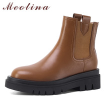 Meotina Chelsea Boots Women Shoes Genuine Leather Platform High Heel Ankle Boots Round Toe Block Heels Short Boots Lady Black 40 women ankle leather boots split toe round heels splited toe lady shoes woman high heels female boots ninja tabi boots