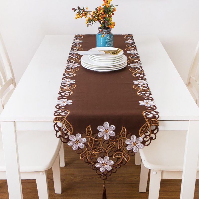 Excellent Embroidered Tablecloth Hollow Table Runner Out Flower Tassel Table Runner Home Textile Decoration