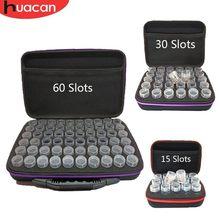HUACAN — Mallette de rangement pour peinture diamant, sac à main de rangement multifonction pour accessoires de broderie, flacons pour perles, 15/30/60 emplacements, kits d'outils