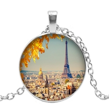 2019 New Handmade France Paris Eiffel Tower Landscape Pendant 3 Color Glass Cabochon Necklace Fashion Jewelry Sweater Chain