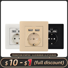 Herepow 2020 Wall Power Socket Grounded 16A EU Standard Electrical Outlet With 2100mA Dual USB Charger Port for Mobile