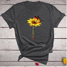 Camiseta de algodón estética Harajuku para mujer, camiseta gráfica, camiseta de mujer, mariposa, flor del sol, camiseta blanca para mujer, camiseta Never Give Up