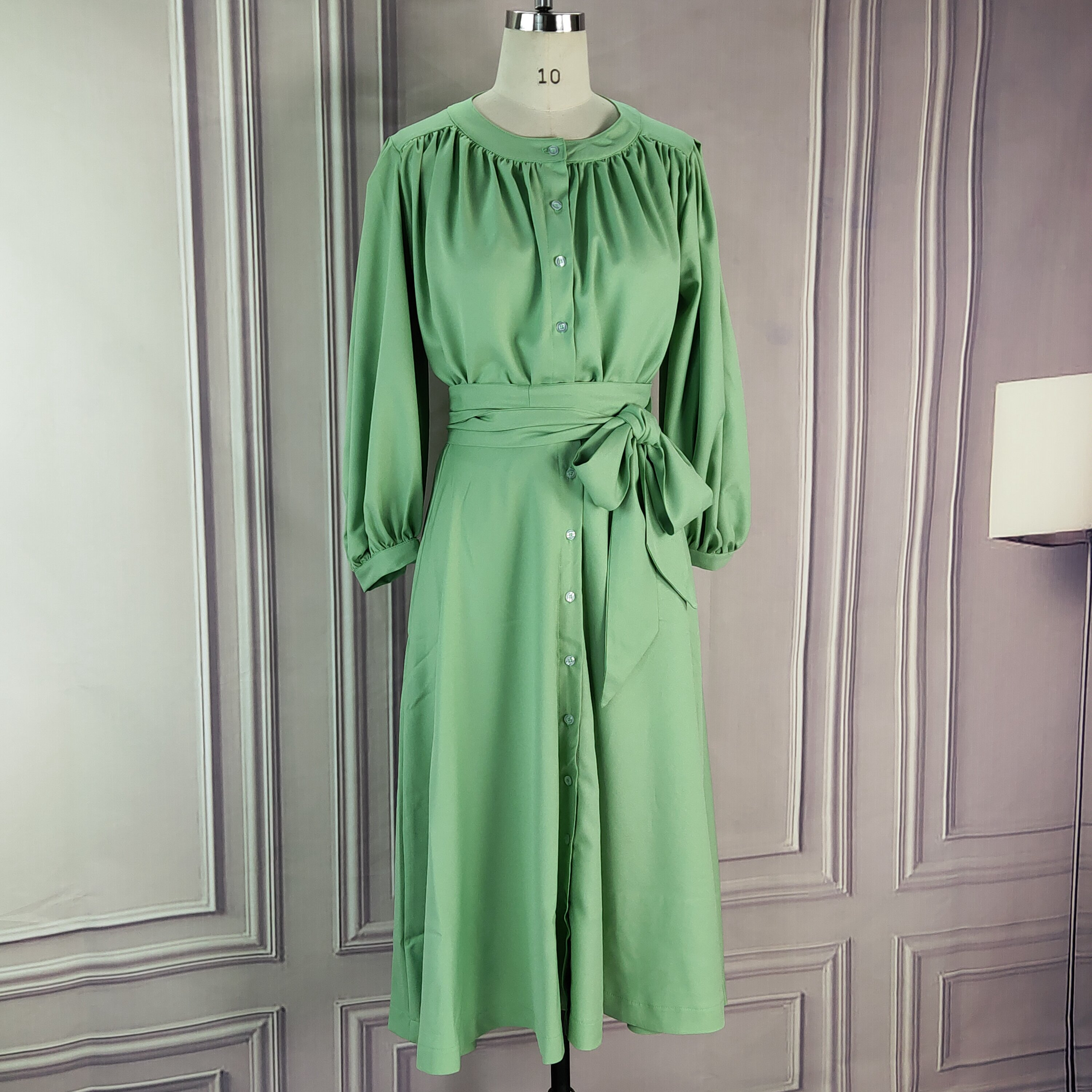 Two Piece Suits Women Tops Blouse Shirt With Sashes Pleated Skirt Midi Women Button Up Green New  Fashion Elegant Classy Clothes