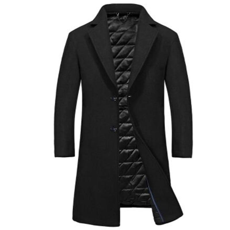 Одежда высшего качества из смески шерсти мужская куртка, пальто брендовая 2017 парка осенне зимние пальто мужской теплая длинная верхняя оде... - 2