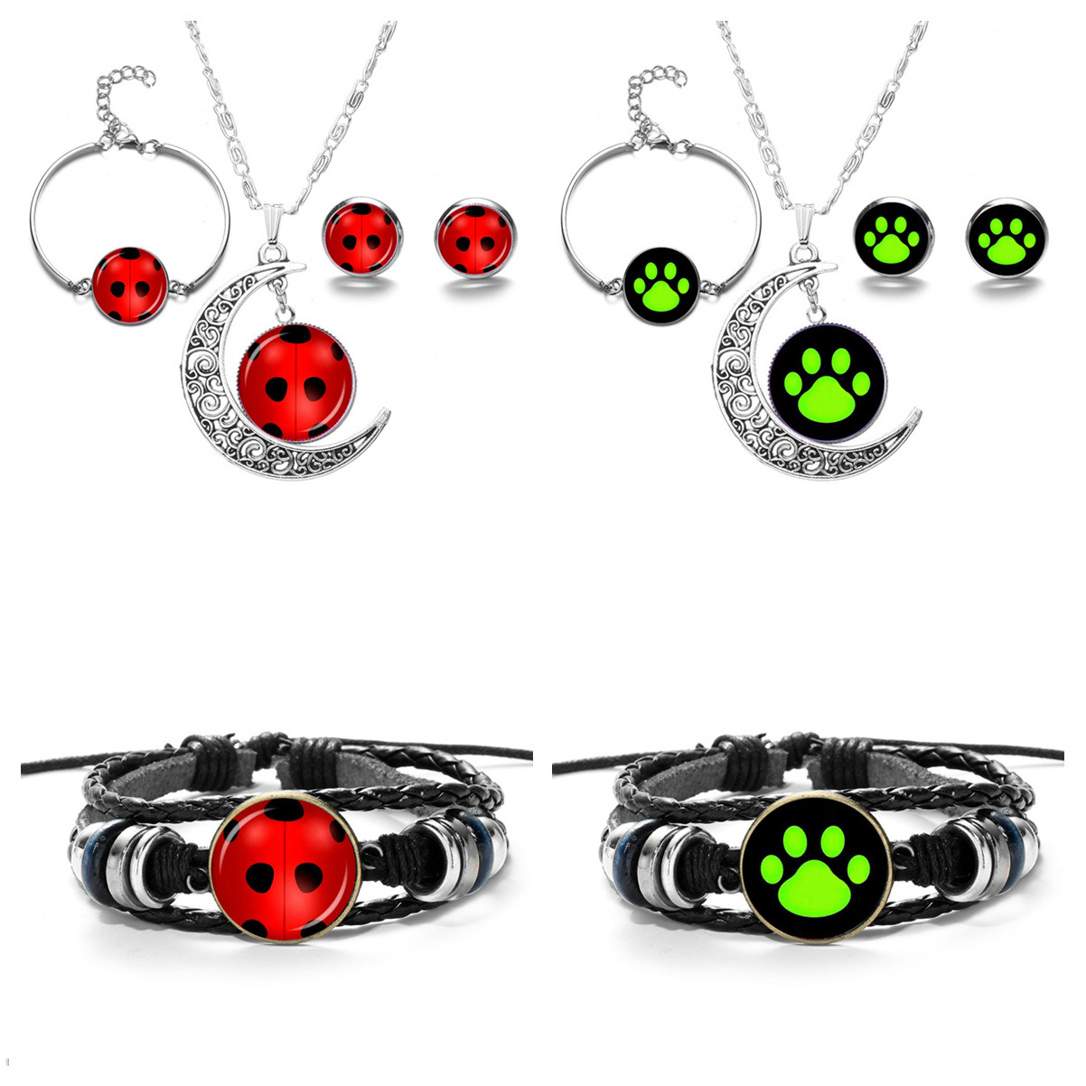 Ladybug GIRL'S Black Cat Necklace Ear Stud Bracelets CHILDREN'S Ornaments Miraculous Ladybug Cross Border Hot Selling