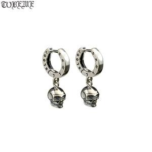 Image 1 - NEW! Vintage 925 Silver Skeleton Earrings Thai Silver Skull Earrings Real Silver Unisex Punk Earrings Jewelry Gift