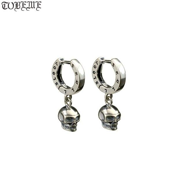NEW! Vintage 925 Silver Skeleton Earrings Thai Silver Skull Earrings Real Silver Unisex Punk Earrings Jewelry Gift