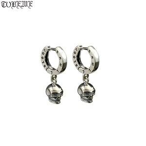 Image 1 - ¡Nuevo! Pendientes de plata de ley 925 con esqueleto Estilo Vintage, pendientes de cráneo plata tailandés, de estilo Punk, Unisex