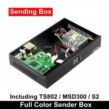Açık Led Video duvar gönderen kutusu senkron gönderme kartı TS802 MSD300 S2 dahil olmak üzere Meanwell güç kaynağı