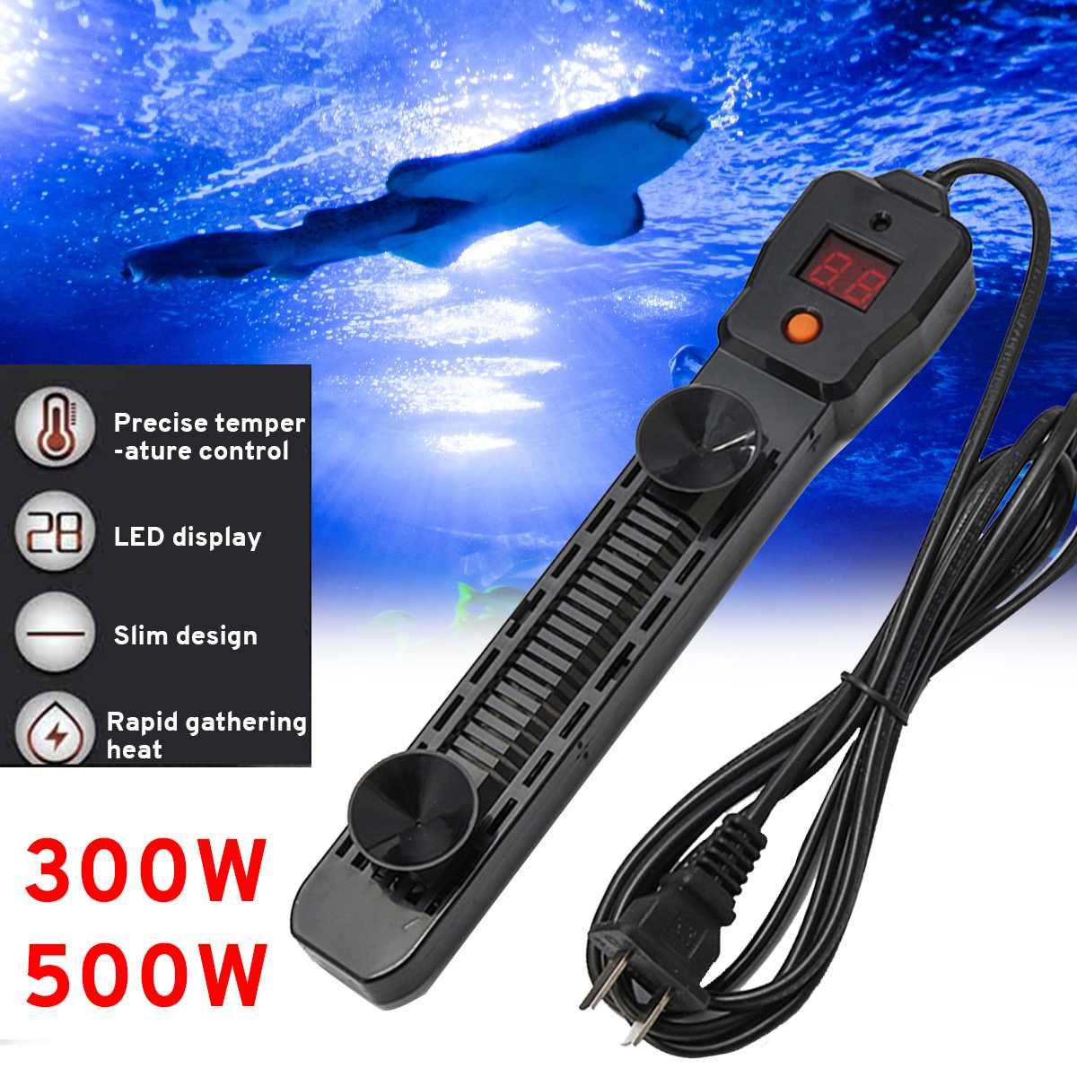 300W 500W LED LCD Display Adjustable Water Heater Rod Autamatic Submersible Aquarium Fish Tank Heater Stick