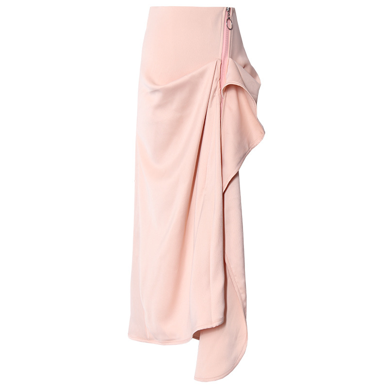 Flesh Color Irregular Sense Of Design Non-mainstream Skirt Flounced Mid-length Skirt French Elegant Fishtail Skirt