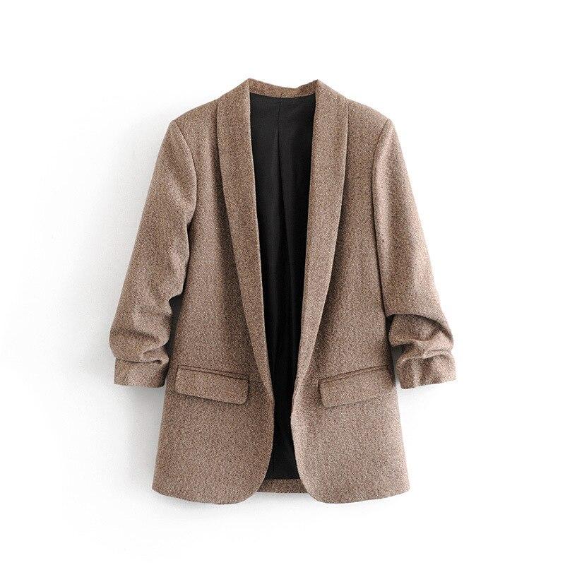 2020 New Arrival Notched None Cotton Full Solid Feminino Jaqueta Feminina Blazer Women Blazers Jackets Coat Autumn Leisure Suit