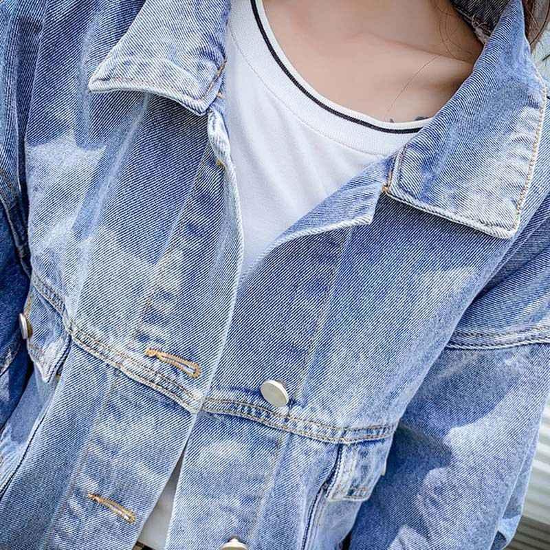 Moda Femminile Giacca di Jeans da Donna Solido Blu Bat Manica Lunga Giacca di Jeans Casuale Allentato Breve Cappotto Del Denim Top chaqueta mujer EY