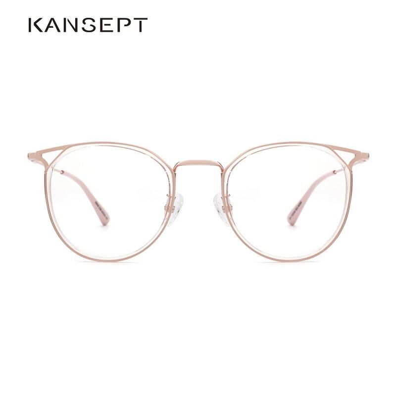 KANSEPT Women Cat Ear Optical Glasses Frame Retro Acetate College Students Round Prescription Frame FashionMyopia Eyeglasses