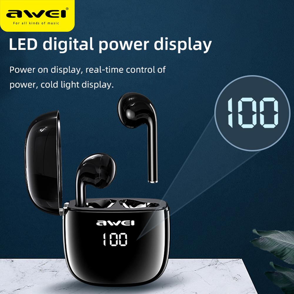 AWEI T28P LED Display Gaming Earphone TWS Stereo Sound Earbuds Headphone with 500mAh Battery Charging Case