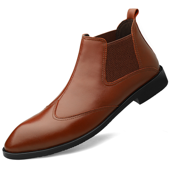 italian brand designer men casual business wedding formal dresses ankle boots point toe cow leather shoes chelsea boot mans bota