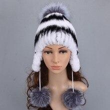 Женская шапка зимняя шапка из меха кролика рекс защита ушей шапки вязаные русские Bomer качественные модные меховые шапки