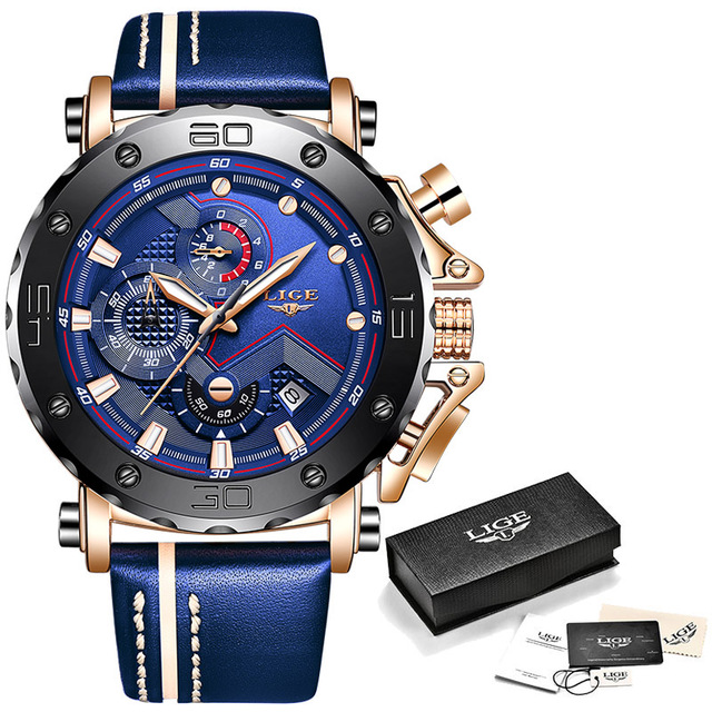 2020LIGE New Fashion Mens Watches Top Brand Luxury Big Dial Military Quartz Watch Leather Waterproof Sport Chronograph Watch Men 8
