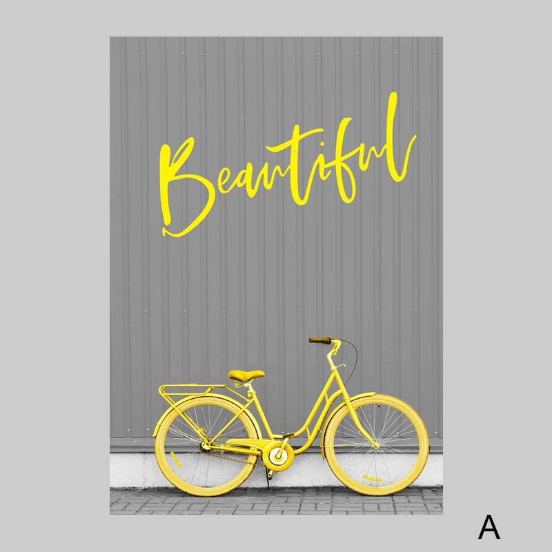 Gray-Posters-Bicycle-Art-Prints-Yellow-Paintings-Road-Sign-Canvas-Painting-Nordic-Poster-Modern-Wall-Pictures (3)