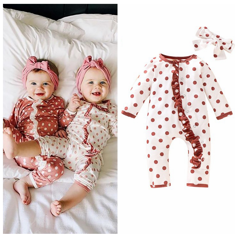Long Sleeve Baby Clothes Baby Girl Clothes Autumn Winter Children Jumpsuits   Rompers   Toddler Polka Printing   Rompers  +Headband