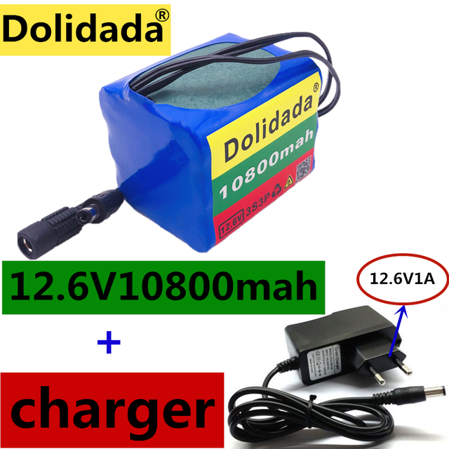3S3P Original  12V10.8Ah 10800mAh 18650 Rechargeable Batteries 12V With BMS Lithium Battery Protection Plate + 12.6V Charger