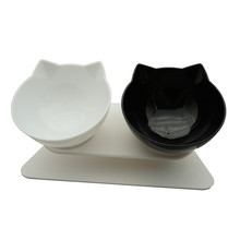 Non-Slip Double Cat Bowl Dog Bowl With Stand Pet Feeding Cat Water Bowl For Cats Food Pet Bowls For Dogs Feeder Product Supplies cheap DCPET CN(Origin) 500g Universal Plastic