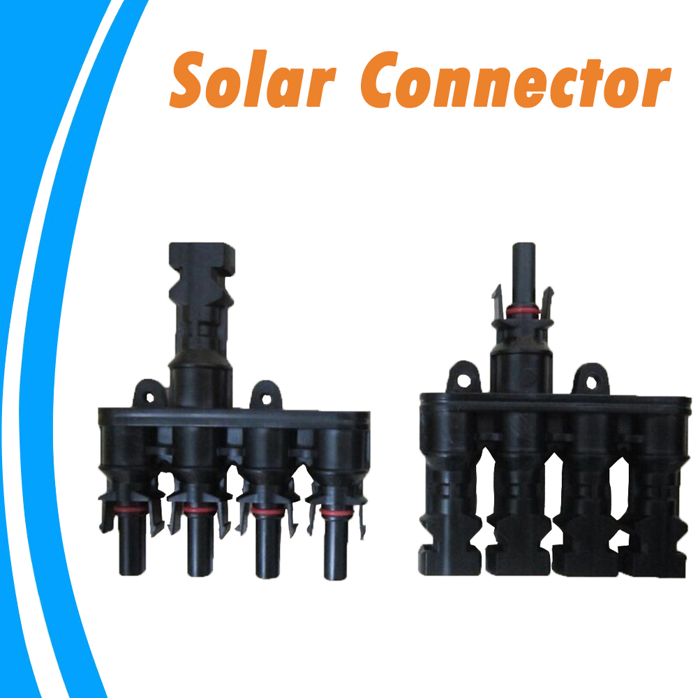 1 Pair M/FM Solar Panel 4 To 1 T Branch 30A Solar Panel Connector Cable Coupler Combiner PV Panel Cable Connectors