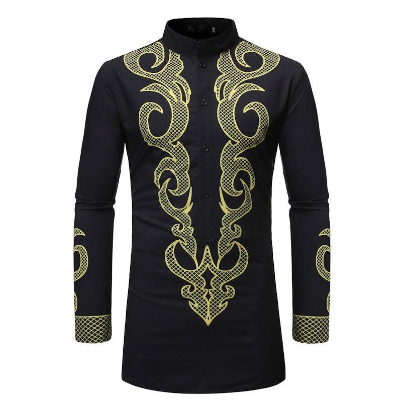 Где купить Весенняя и Осенняя Новая мужская рубашка с длинными рукавами с 3D принтом, Длинные рубашки для мужчин, Повседневная рубашка в национальном стиле