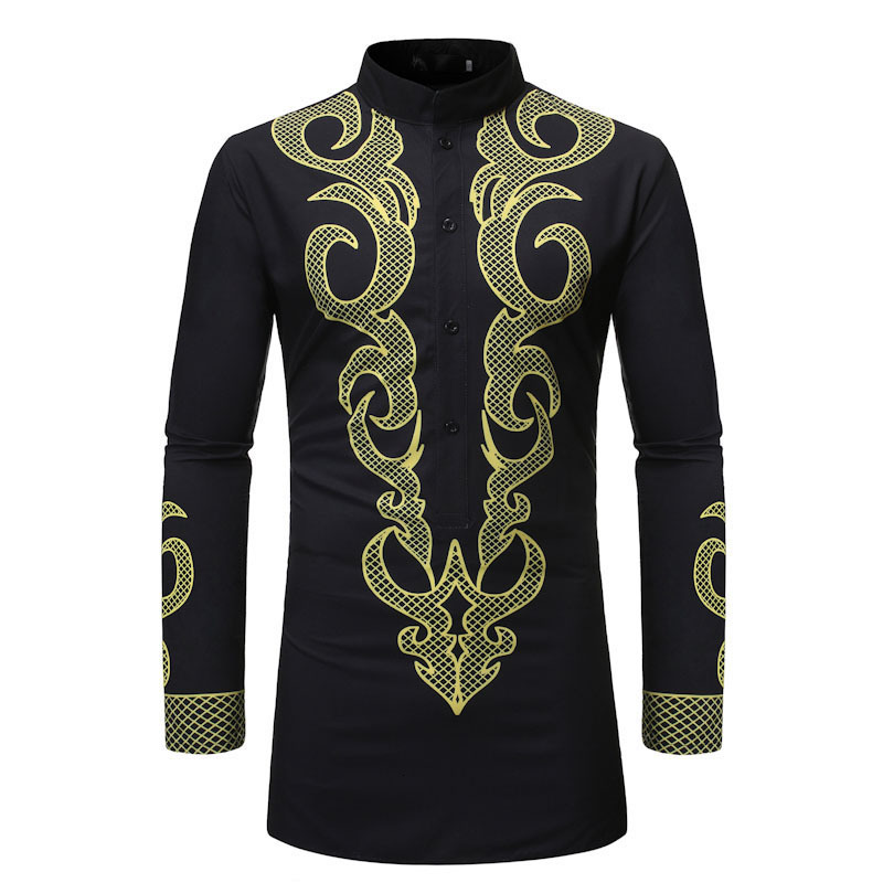 Spring And Autumn New Men's Long Sleeve Shirt 3D Printed Long Shirts Men Casual Shirt National Style