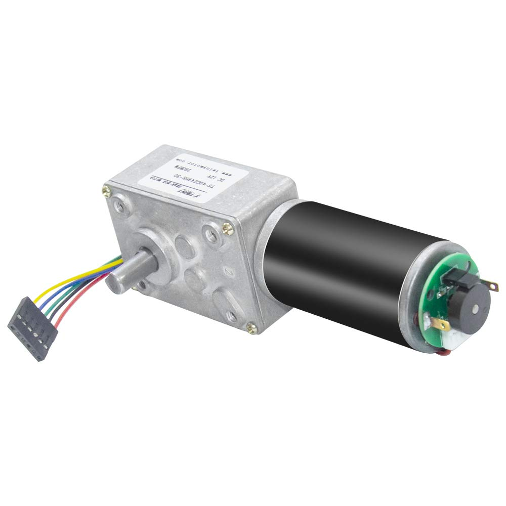 40GZ495 DC Turbo Worm <font><b>Gear</b></font> <font><b>Motor</b></font> With <font><b>Encoder</b></font> <font><b>12V</b></font> 8-470RPM Reversible with <font><b>Encoder</b></font> & Cable for Robot Toys Intelligence Appliance image