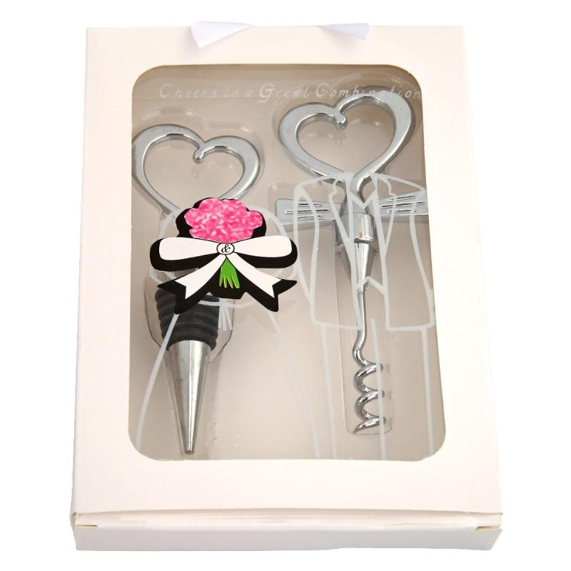Love Heart Corkscrew Wine Bottle Opener Wine Stopper Wedding Gift Favors For Guests Bottle Opener Set Wedding Decoration