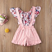 Baby Girls Clothing Sets Summer Thin Cool Sleeveless Floral Ruffle Casual T shirt Tops+Solid Color Shorts Children Outfits Set