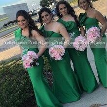 Vestido De Dama De Honor verde con volantes, un hombro, con apliques, sirena, largo, Formal, boda, fiesta, 2021