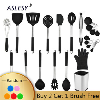 1-16pcs Silicone Cooking Kitchen Utensils Set Stainless Steel Handle Turner Spatula Spoon Tongs Whisk Cookware Kitchen Tools Set 1