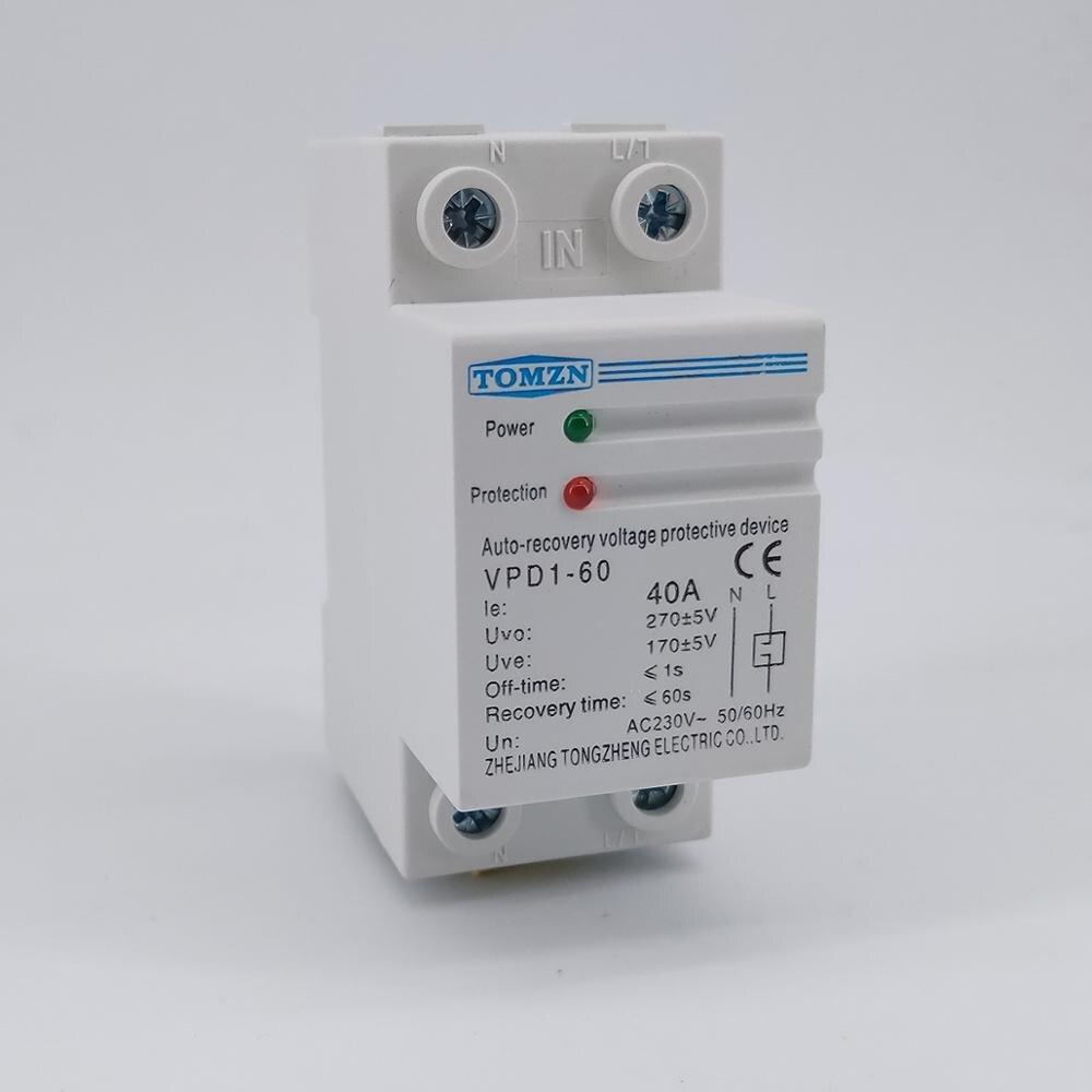 1 pcs 40A 230V Din rail di recupero automatico ricollegare sopra tensione e sotto la protezione di tensione dispositivo di protezione relè di protezione