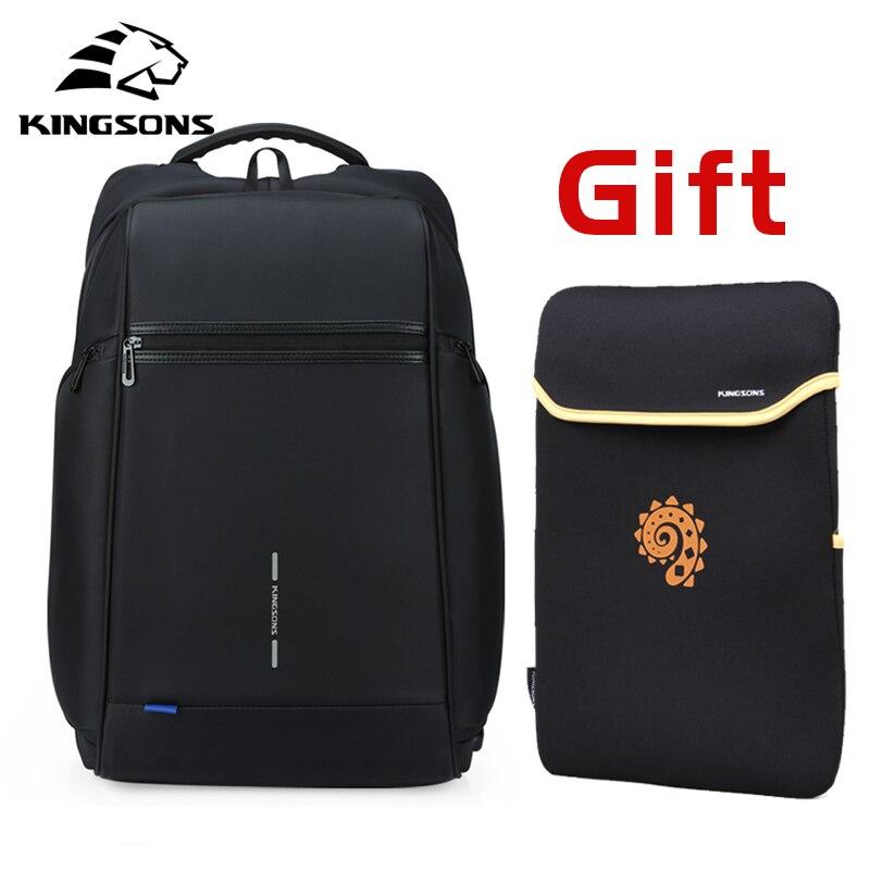 Kingsons homme sac à dos Fit 15 17 pouces ordinateur portable USB recharge multi-couche espace voyage homme sac Anti-voleur Mochila