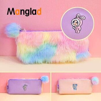 Bentoy Colorful Plush Zipper Pencil Case Warm Soft Flannel Pink Cosmetic Bag Cute Pompoms Clutches Mini Make up Pouch