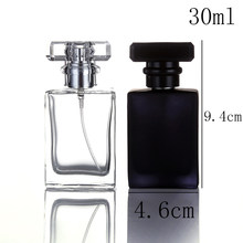 1Pcs high quality glass perfume bottle atomizer perfume bottle transparent black spray bottle crystal transparent square 30ml