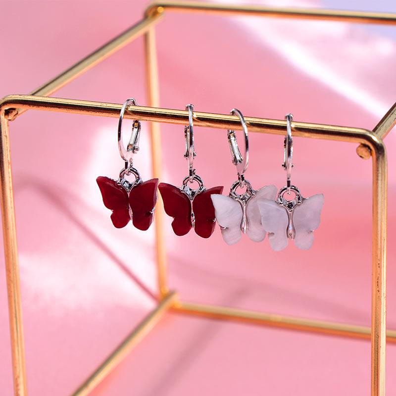 Flatfoosie 2 Pair/Sets Simple Design Butterfly Stud Earrings Resin Small Animal Silver Color Earrings Female Wedding Accessories