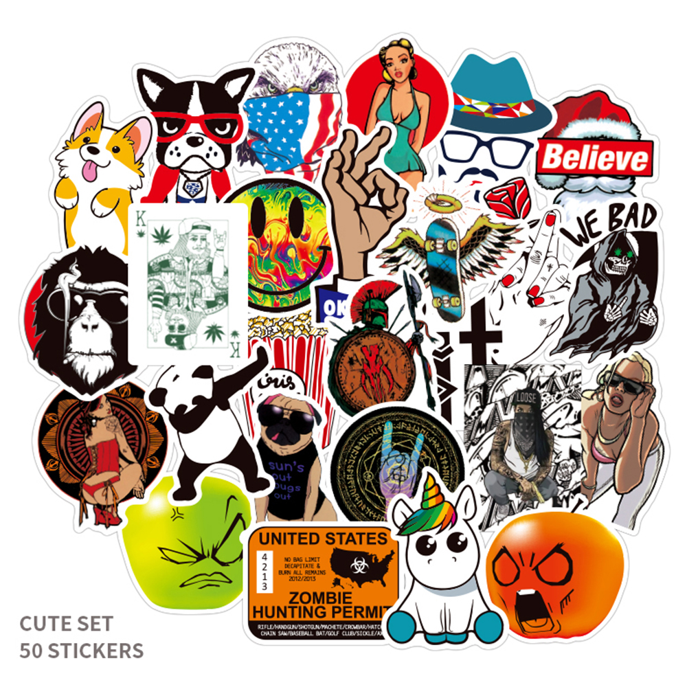 50 Pieces / Many Mixed Cartoon Classic Fashion Brand PVC Toy Stickers Waterproof Cool Fun For Laptop Suitcase Mobile Phone