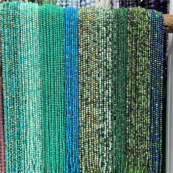 Wholesale 2mm 3mm Natural Stone Quartz Beads Round Green Turquoises Moonstone Malachite Amazonite Loose Beads for Jewelry Making 1