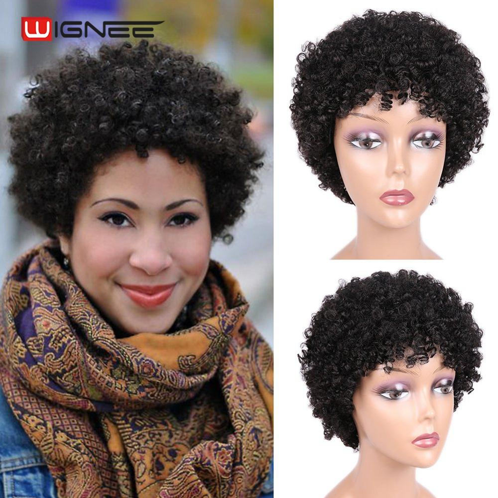 Wignee Short Spiral Curl Human Hair Wigs For Black Women Mixed Brown/2#/99J Remy Brazilian Hair Short Afro Kinky Curly Human Wig